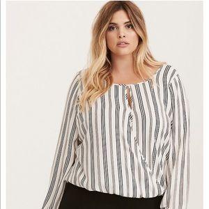 Torrid striped blouse black white crossover top